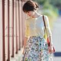 ほの甘ガーリーなベロアリボン付きカーディガン 【ferisa フェリーサ】 Beautyful Colorsカタログ 泉里香さんはライトイエローを着用