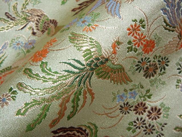 京西陣・金襴生地 菊鳳凰(淡緑) (和柄 和風 衣装 生地)