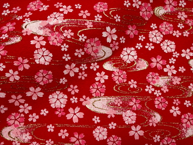 毛氈(もうせん)水面桜 (雛まつり 雛飾り 雛人形 お雛様 和布 生地)