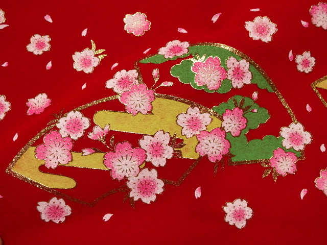 毛氈(もうせん)扇面桜 (雛まつり 雛飾り 雛人形 お雛様 和布 生地)