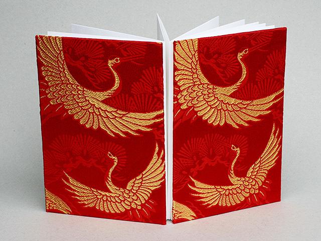御朱印帳 金襴織物 松鶴宴(赤・金)