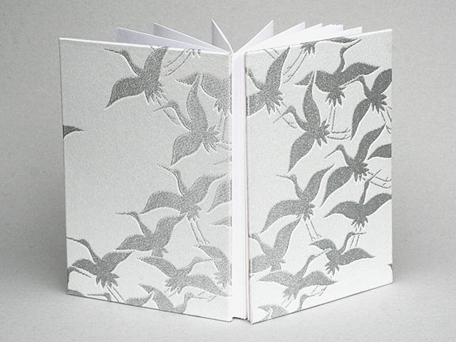 御朱印帳 金襴織物 群鶴(白・銀)