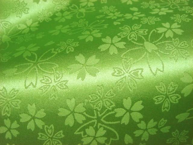 京 綸子・りんず 桜吹雪(若葉) 50cm単位 切り売り