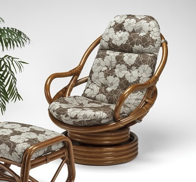 籐・ラタンのハイバック回転椅子
