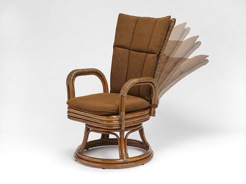 籐・ラタンのデリシアハイバックリクライニング回転椅子