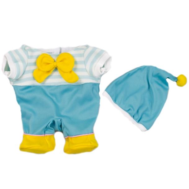 水色ロンパース 帽子付きは 素敵なぼうしと水色のロンパースに黄色いリボンがアクセントの男女兼用お洋服