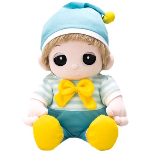 水色ロンパース 帽子付きを夢の子ユメルに着せるとこんなふうに素敵になります。
