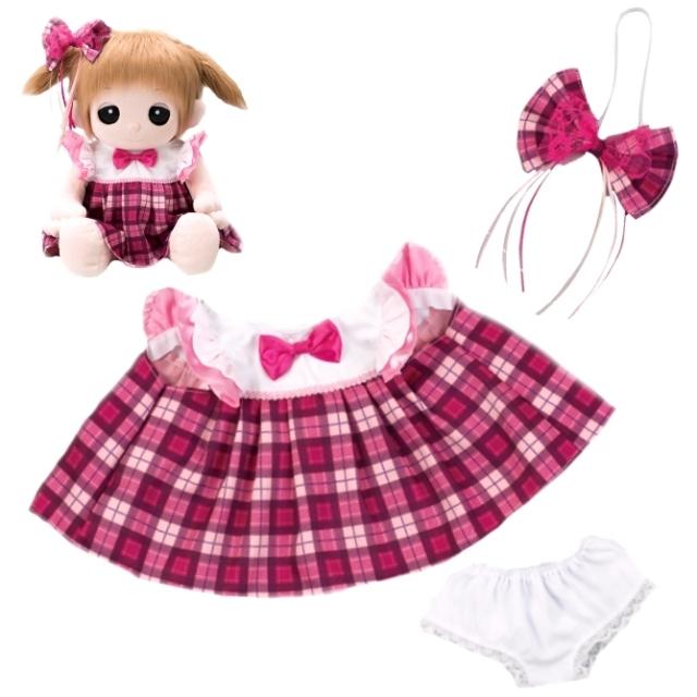 夢の子コレクション45 ピンクのチェック柄ワンピース (リボン・パンツ付き) 【おしゃべり人形お洋服】