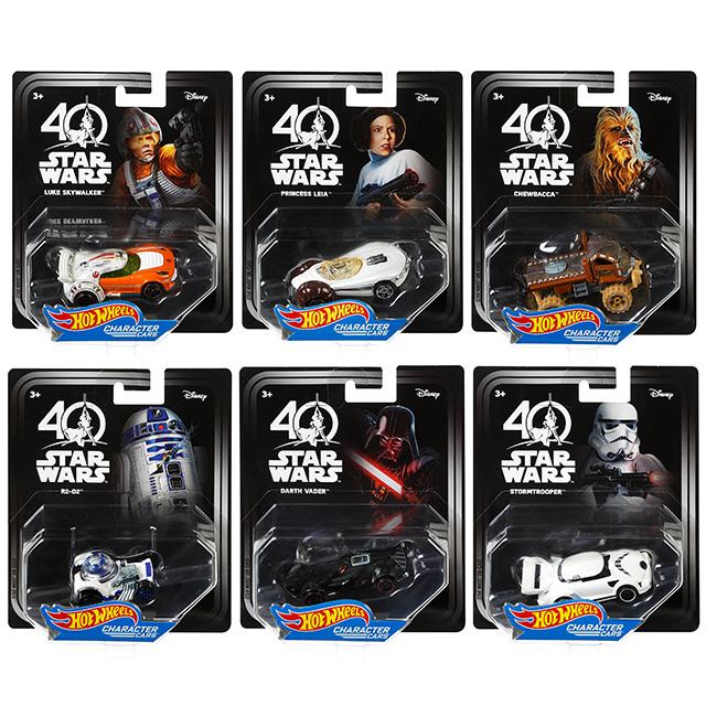 スターウォーズ 40周年記念 ホットウィール ダイキャスト キャラクターカー 6台セット (ルーク・スカイウォーカー&レイア・オーガナ&チューバッカ&R2-D2&ダースベイダー&ストームトルーパー)