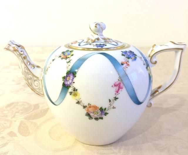 ヘレンド FLR 20606-0-06 フラワーリボン TeaPot 800ml ツイストノブ