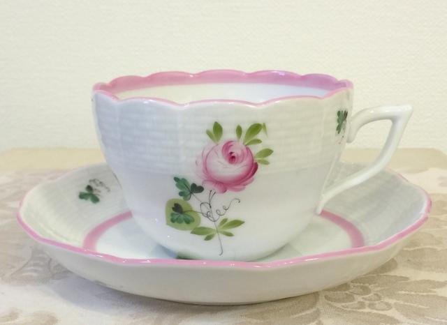 ヘレンド VRH-X4 00730-2-00/00706-1-00 ウィーンの薔薇ピンク 兼用カップ&ソーサー