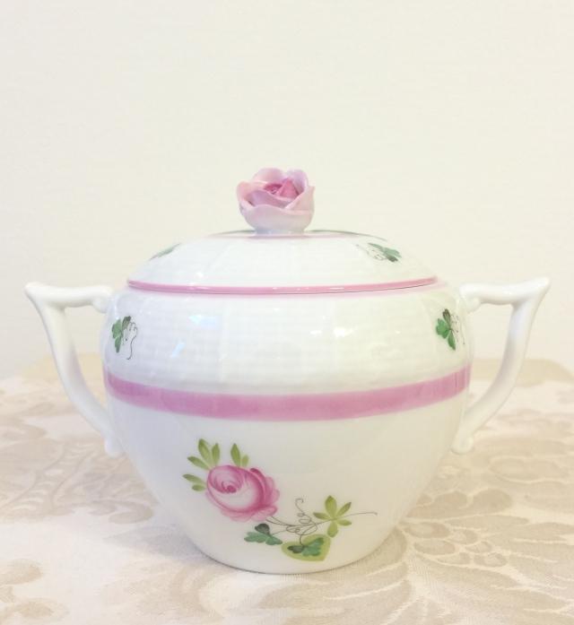 ☆入荷☆ ヘレンド VRH-X4 00472-0-00 ウィーンの薔薇ピンク シュガーポット