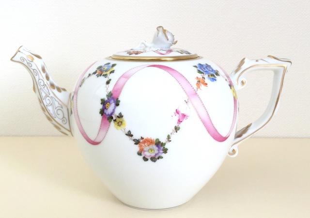 ヘレンド FLR-X2 20606-0-09 フラワーリボンピンク TeaPot 800ml 薔薇タイプ