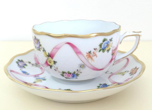 ヘレンド FLR-X2 20724-0-00 フラワーリボンピンク ティーカップ&ソーサー(カップ&ソーサーのみ、デザートプレートは付きません)