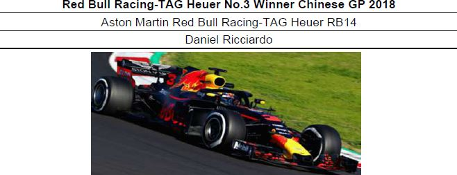 ◎予約品1/18 Red Bull Racing-TAG Heuer No.3 Winner Chinese GP 2018 Aston Martin Red Bull Racing-TAG Heuer RB14  ダニエル・リカルド