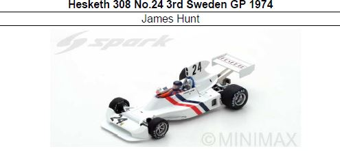 ◎予約品◎ Hesketh 308 No.24 3rd Sweden GP 1974  James Hunt