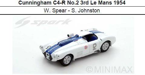 ◎予約品◎Cunningham C4-R No.2 3rd Le Mans 1954  W. Spear - S. Johnston