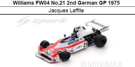 ◎予約品◎Williams FW04 No.21 2nd German GP 1975  Jacques Laffite