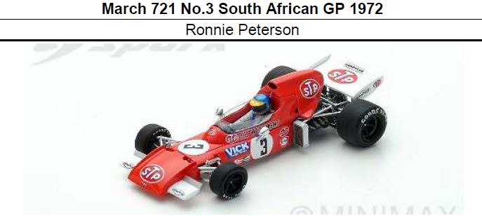 ◎予約品◎ March 721 No.3 South African GP 1972  Ronnie Peterson