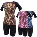 【ゆったりM-3L】女性用水着袖付きセパレーツ モンステラ 1210037 ゆったりM・L・LL・3L