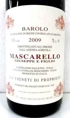 ジュゼッペ・マスカレッロ バローロ 2009 GIUSEPPE MASCARELLO イタリア産赤ワイン