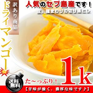 セブ島 ドライマンゴー たっぷり 1kg(500g×2個)【訳あり】【送料無料】※代金引換不可