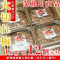 紀州南高梅 訳あり 大切れ梅 12kg(1kg×12個入り) はちみつ漬け(つぶれ梅 業務用セット) 送料無料