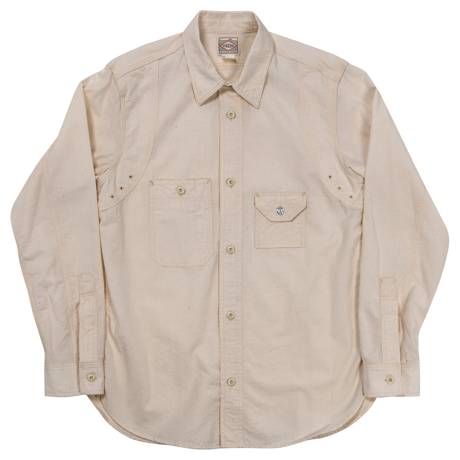 Cigaret Pocket Shirt-White Chambray