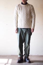 Kerry Woollen Mills Aran Cable Crew Neck Sweater Pure Aran-6