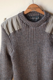 Wooly Back Commando Sweater Crew Neck with Patches Derby Tweed-1