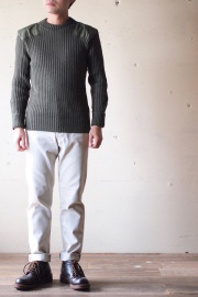 Wooly Back Commando Sweater Crew Neck with Patches Olive-1