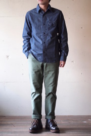 WORKERS Anchor Shirt Dark Blue Chambray-1