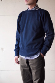 WORKERS Boatneck Cotton Sweater Navy-1