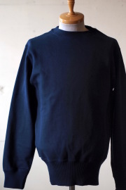 WORKERS Cotton Sweater Crew Neck Navy-1