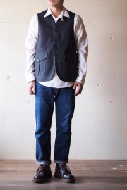WORKERS Cruiser Vest 12oz Wool Melton Grey-1