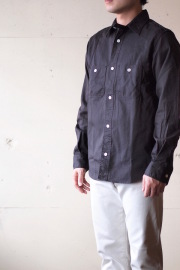 WORKERS MFG Work Shirt Twill Charcoal Black-1
