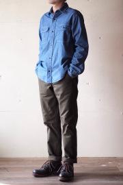 WORKERS MIL Trousers Slim Fit Heavy Serge Khaki-1