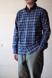 WORKERS Modified BD Shirt Brushed Indigo Check-1