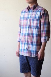 WORKERS Modified BD Shirt India Madras Blue-1