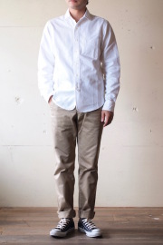 WORKERS Narrow Round Collar Shirt D-OX White-1