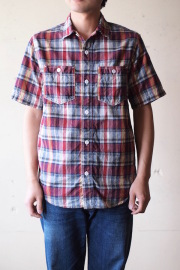 WORKERS Short Sleeve Work Shirt India Madras Red-1