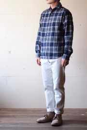 WORKERS Widespread Collar Shirt Indigo Flannel-1