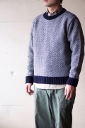 Glen Fyne Herringbone Crew Neck Sweater Navy×Grey-1