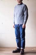 Harley of Scotland Shetland Sweater Crew Neck Medium Grey-1