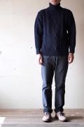 John Cooper Knitwear, Kearney Aran Cable, Roll Neck, Navy-1