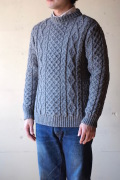 Kerry Woollen Mills Aran Cable Crew Neck Sweater LITE Steel-1