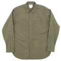Metal Button Work Shirt Olive Chambray