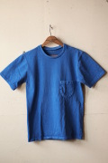 Mixta (ミクスタ) Crew Neck Pocket T-Shirt, Denim Blue-1