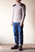 Wooly Back Commando Sweater Crew Neck with Patches Heather Mix-1