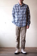 WORKERS Big Work Shirt Indigo Check-1